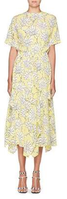Valentino Floral-Print Short-Sleeve A-Line Midi Dress
