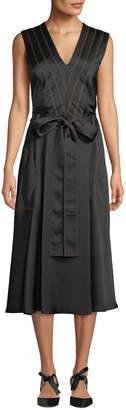 Cédric Charlier Sleeveless V-Neck Tie-Waist A-Line Satin Midi Dress