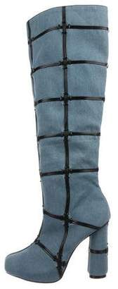 Tom Ford Denim Patchwork Over-The-Knee Boots