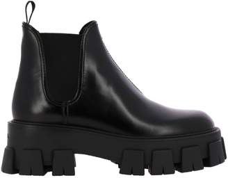 Prada Flat Booties Ankle Boots In Leather With Elastic Bands And Tank Bottom