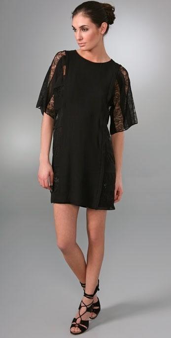Sari Gueron Short Sleeve Dress with Lace & Swarovski Crystals