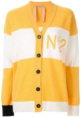No.21 striped logo cardigan