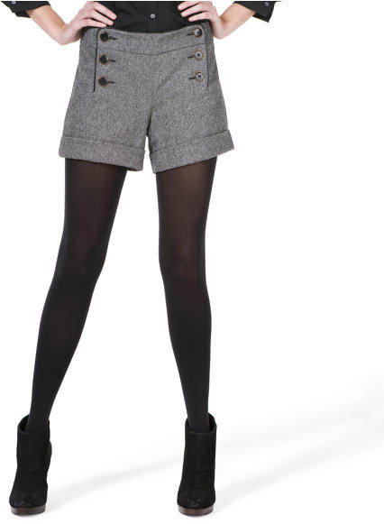Cuffed Shorts - Black & White Tweed