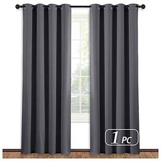 NICETOWN Blackout Blind Curtain Window Treatment - (Gray/Grey Color) Thermal Insulated Drape Shade with Grommet for Sliding Glass Door