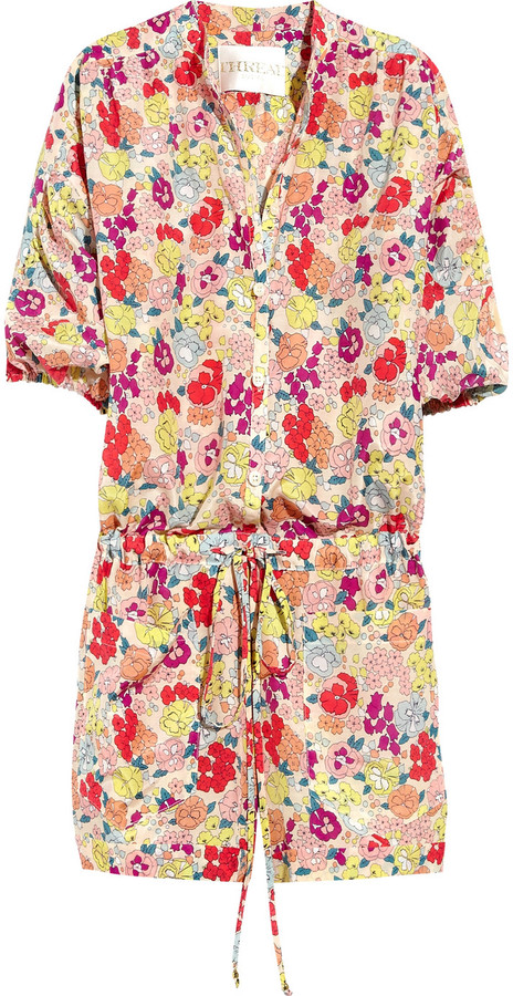 Thread Social Floral-print silk and cotton-blend playsuit