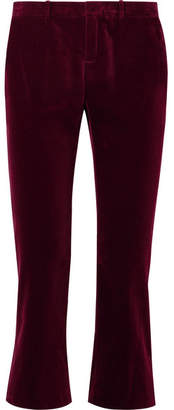 Saint Laurent Cropped Cotton-velvet Flared Pants - Burgundy