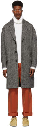 Isabel Marant Black and White Herringbone Faxon Coat