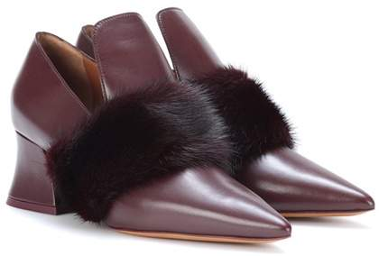 Givenchy Mink fur-trimmed leather pumps