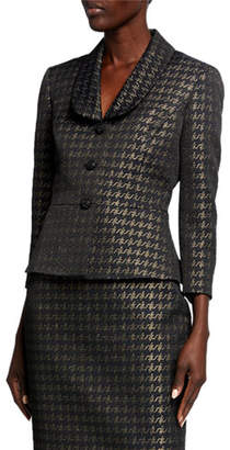 Albert Nipon Metallic Houndstooth Shawl Collar Skirt Suit