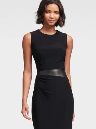 DKNY Sheath Dress With Faux-Leather Detail