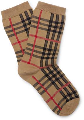 Burberry Checked Stretch Cotton-Blend Socks