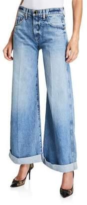 KHAITE Noelle Wide-Leg Roll-Cuff Jeans