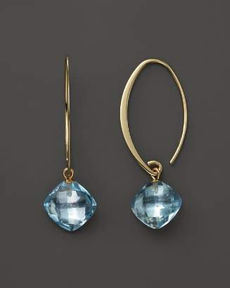 Bloomingdale's 14K Yellow Gold Simple Sweep Earrings with Blue Topaz - 100% Exclusive