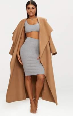 PrettyLittleThing Grey Second Skin Bodycon Midi Skirt
