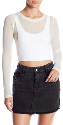 Honey Punch Mesh Overlay Crop Top
