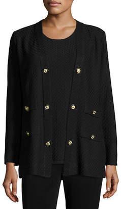 Misook Textured Straight-Cut Knit Jacket, Petite
