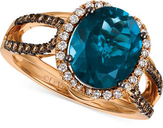 LeVian Le Vian Chocolatier Blue Topaz (4 ct. t.w.) & Diamond (3/8 ct. t.w.) Ring in 14k Rose Gold, (also in Rhodolite Garnet)