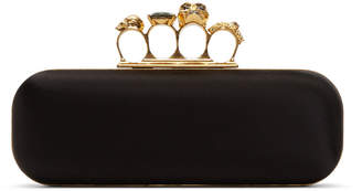 Alexander McQueen Black Satin Knuckle Box Clutch