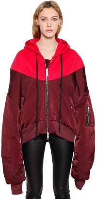 Unravel Hybrid Nylon & Jersey Bomber Jacket