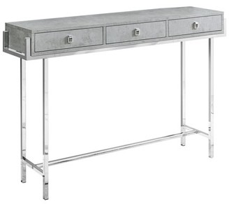 "Monarch Specialties ACCENT TABLE - 48""L / GREY CEMENT / CHROME METAL"