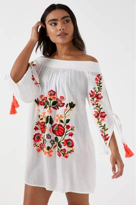 Missguided Womens Floral Embroidered Bardot Beach Dress - White