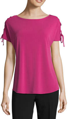 WORTHINGTON Worthington Short Sleeve Crew Neck T-Shirt-Womens