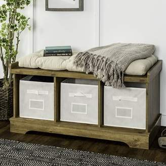 "Walker Edison 42"" Wood Storage Bench with Totes and Cushion - Barnwood (Multiple Colors Available)"