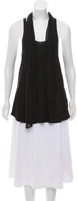 Alice + Olivia Sleeveless Scarf-Accented Top