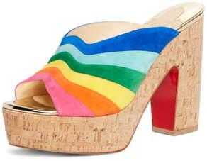 Christian Louboutin O Sister Rainbow Platform Slip-On Sandal