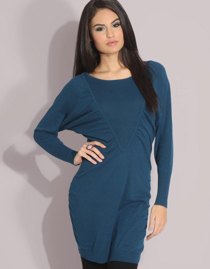 ASOS Rib V-Panel Knitted Dress