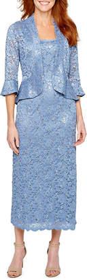 R & M Richards 3/4 Sleeve Lace Jacket Dress