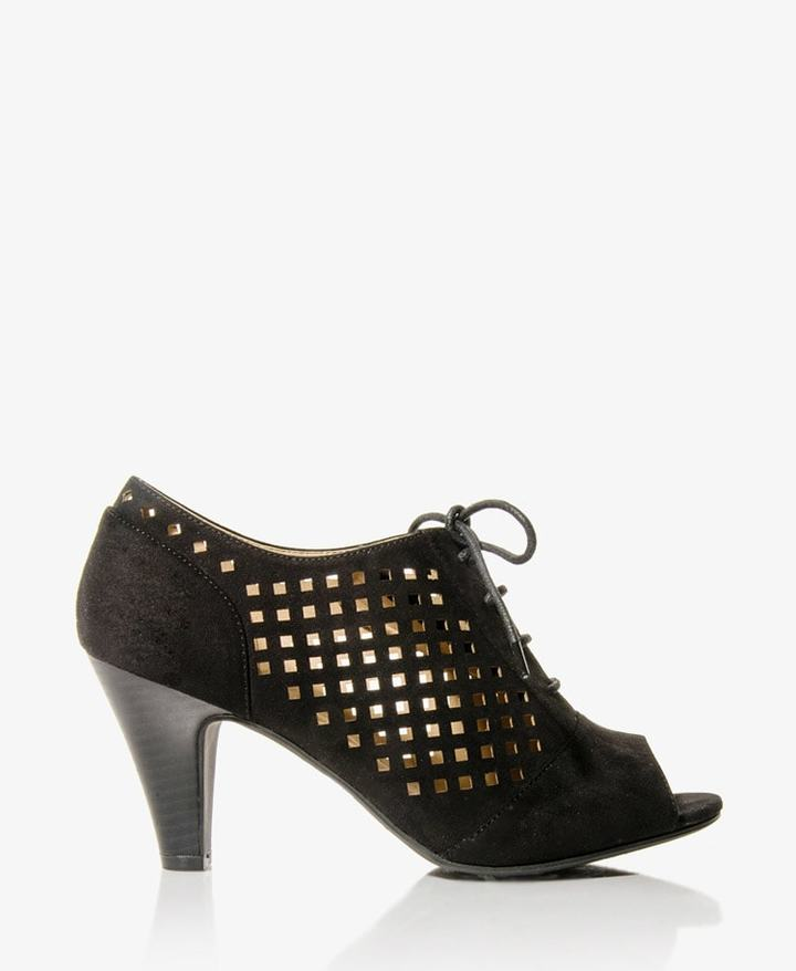Forever 21 Perforated Peep Toe Booties