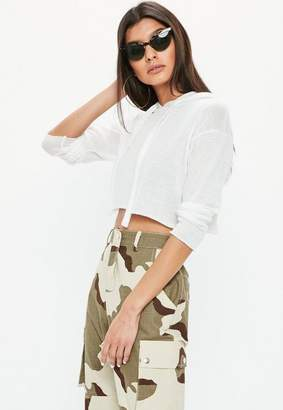 Missguided White Cut and Sew Cropped Hoodie, Cream
