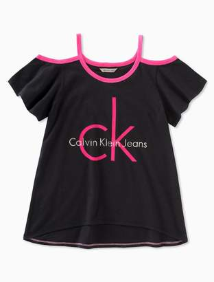 Calvin Klein girls logo cold shoulder t-shirt