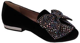 Trimfoot Black Velvet Loafer with Bow