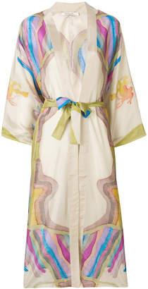 Mes Demoiselles printed belted waist kimono coat