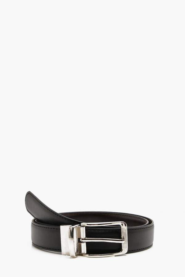 boohoo Reversible Belt With Chrome Buckle