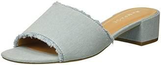 Rampage Women's Malista Peep Toe Slip on Backless Block Low Heel Mule Flat Sandal