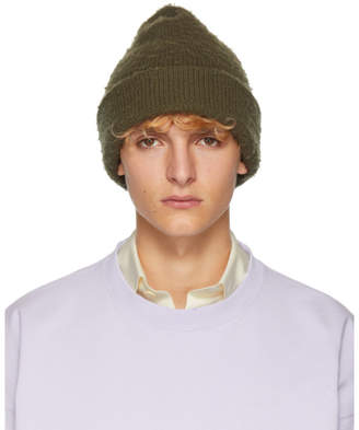 Acne Studios Green Ribbed Beanie