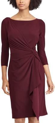 Chaps Petite Knot-Front Ruffle Sheath Dress
