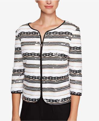 Alex Evenings Sequined Stripe Zip Jacket