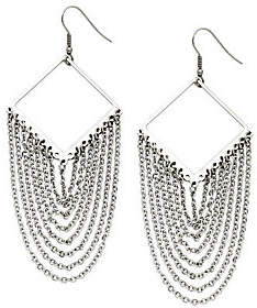 Steel by Design Stainless Steel Diamond Shape with Dangle Chain Earrings