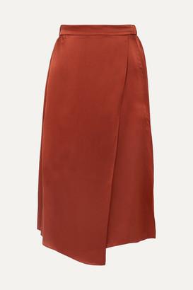 Vince Wrap-effect Draped Silk-satin Skirt - Brick