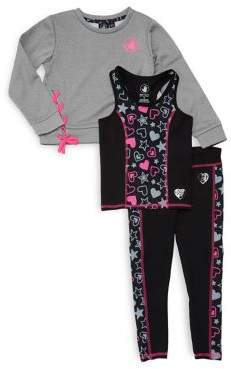 Body Glove Little Girl's Techno Fleece Sweatshirt, Tank Top & Leggings Set