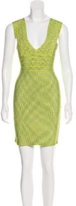 Herve Leger Sleeveless Bandage Dress Lime Sleeveless Bandage Dress