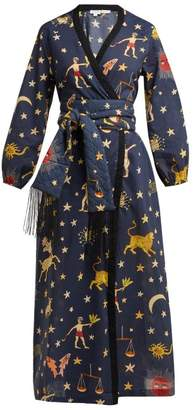 Rhode Resort - Lena Cotton Wrap Dress - Womens - Navy Print