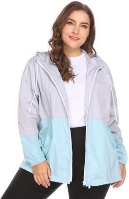 dfad5c649bd IN VOLAND Women s Plus Size Rain Jacket Lightweight Hooded Waterproof  Active Outdoor Rain Coat