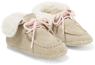 Moncler Size 16 - 19 Baby Manon Shearling-lined Suede Booties