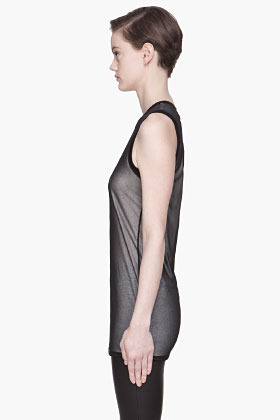 Gareth Pugh Black and white net layered tank top