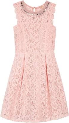 Couture Monteau Jeweled Neckline Lace Dress